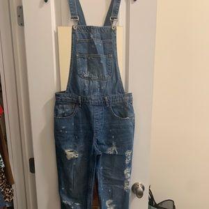 Zara distressed overalls size S